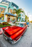 Vintage Ford car parks in the art deco district in Miami Florida Royalty Free Stock Photos