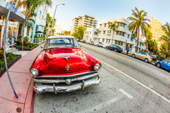 Vintage Ford car parks in the art deco district in Miami Florida Stock Photo