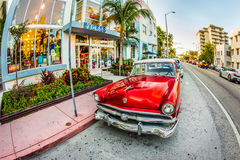 Vintage Ford car parks in the art deco district in Miami Florida Royalty Free Stock Photography