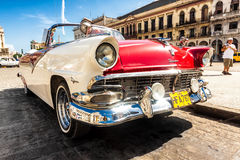 Vintage Ford Fairlane at the Havana Capitol Stock Photos