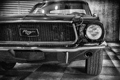 Vintage ford mustang 289. RIMINI , Italy - FEBRARY 12, 2017:Vintage ford mustang 289 vintage car stands parked royalty free stock photo