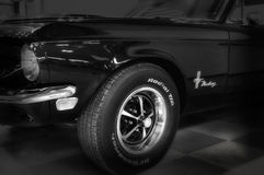 Vintage ford mustang 289. RIMINI , Italy - FEBRARY 12, 2017:Vintage ford mustang 289 vintage car stands parked royalty free stock photography