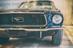 Vintage ford mustang 289. RIMINI , Italy - FEBRARY 12, 2017:Vintage ford mustang 289 vintage car stands parked stock image