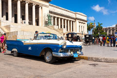 Vintage Ford parked at the Capitol in Havana. Vintage Ford parked in front of the Capitol  in Havana.These old cars,the only ones that could be bought until a Royalty Free Stock Photography