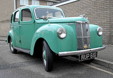 Vintage ford prefect car. Photo of a light blue vintage british ford prefect car parked by the kerbside Royalty Free Stock Photo