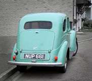 Vintage ford prefect car. Photo of a light blue vintage british ford prefect car with tinted windows.nphoto taken 15th march 2015 and ideal for vintage cars Royalty Free Stock Photo