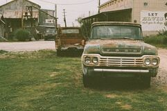 Vintage Ford Truck Parked in Grass Stock Photography