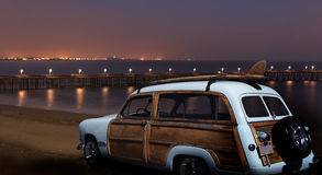 Vintage Ford Woodie at Night royalty free stock photos