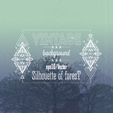 Vintage forest background with tribal style frame Royalty Free Stock Photo