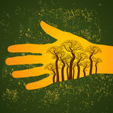 Vintage forest concept in hands Royalty Free Stock Photography