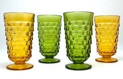 Vintage forest green and amber goblets Stock Image