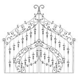 Vintage forged gate with floral ornament. Isolated object. Hand drawn vector illustration Royalty Free Stock Image