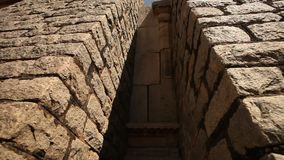 Vintage Fort wall Hampi India stock video