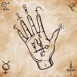 Vintage fortune teller hand with spell elements . Stock Images