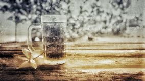 Vintage foto. Of fresh cola and flower on wooden table background stock photo