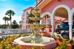 Vintage Fountain close to main entrance of The Don Cesar Hotel. The Legendary Pink Palace of St. Pete Beach. stock image