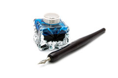 Vintage fountain pen and inkwell isolated Royalty Free Stock Images