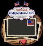 Vintage Fourth of July Independence Day. Vintage background with aged photo frames, postage stamp, US flags, label with phrase: Fourth of July Independence Day Stock Photos