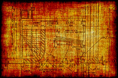 Vintage fragment of a construction plan Stock Photo
