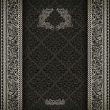 Vintage frame. Vintage background on black damask pattern with silver ornament Royalty Free Stock Photo