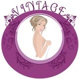 Vintage Frame. Vintage Floral Frame with a fancy lady Royalty Free Stock Photos