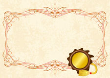 Vintage frame. With sealing wax stamp Royalty Free Stock Photo