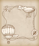 Vintage frame with air balloons Royalty Free Stock Photography