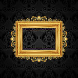 Vintage frame on black wall Royalty Free Stock Photo