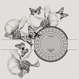 Vintage frame with blooming orchids and butterflie. S, hand-drawing. Vector illustration Royalty Free Stock Photos
