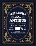 Vintage frame border label retro hand drawn engraving antique. Vector illustration Royalty Free Stock Photography