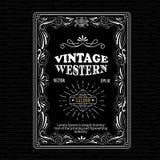 Vintage frame border western label hand drawn retro engraving Stock Image
