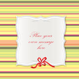 Vintage frame with bow ribbon and copy spase. Stock Image
