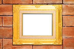 Vintage frame on brick wall Royalty Free Stock Image