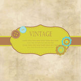 Vintage frame with buttons and flowers Royalty Free Stock Photo