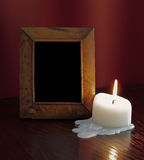 Vintage frame and candle Stock Photo