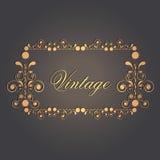 Vintage frame, card or invitation with floral design. Stock Photo