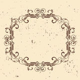 Vintage frame. Circular baroque pattern. Round floral ornament.Greeting card. Wedding invitation. Retro style. Vector logo templat Stock Photo