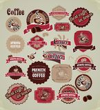 Vintage frame coffee label set. Set of retro frames labels with signs of quality coffee Royalty Free Stock Photo