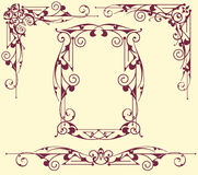 Vintage frame corners. Vintage frames and corners with delicate swirls in Art Nouveau for decoration and design works with floral motifs vintage style with Stock Photo
