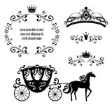 Vintage frame with crown, ornamental style diadem and carriage. Royalty Free Stock Image