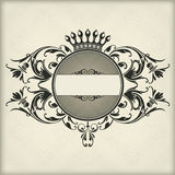 Vintage frame with crown Stock Photography
