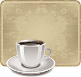 Vintage frame with a cup of coffee Stock Images