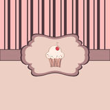 Vintage frame with cupcake. Vintage ornate frame greeting card with cupcake royalty free illustration