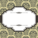 Vintage Frame on Damask Background. Vintage frame on seamless damask background.  Damask background is behind a clipping mask.  Colors are global for easy Stock Image