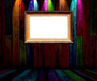 Vintage Frame in Dark Wooden Room Royalty Free Stock Photos