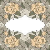 Vintage frame decorated with hand drawn flowers Royalty Free Stock Photo