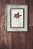 Vintage frame decorated with spider's web and dry maple leaf Royalty Free Stock Image