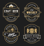 Vintage frame design for labels, banner, sticker and other design. Suitable for whiskey, beer, wine, beverage and premium product. All type use free font Stock Image