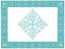 Vintage frame doodle in blue Stock Image