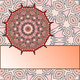 Vintage frame. Drawing of a frame with red mandala in indian style Royalty Free Stock Photography